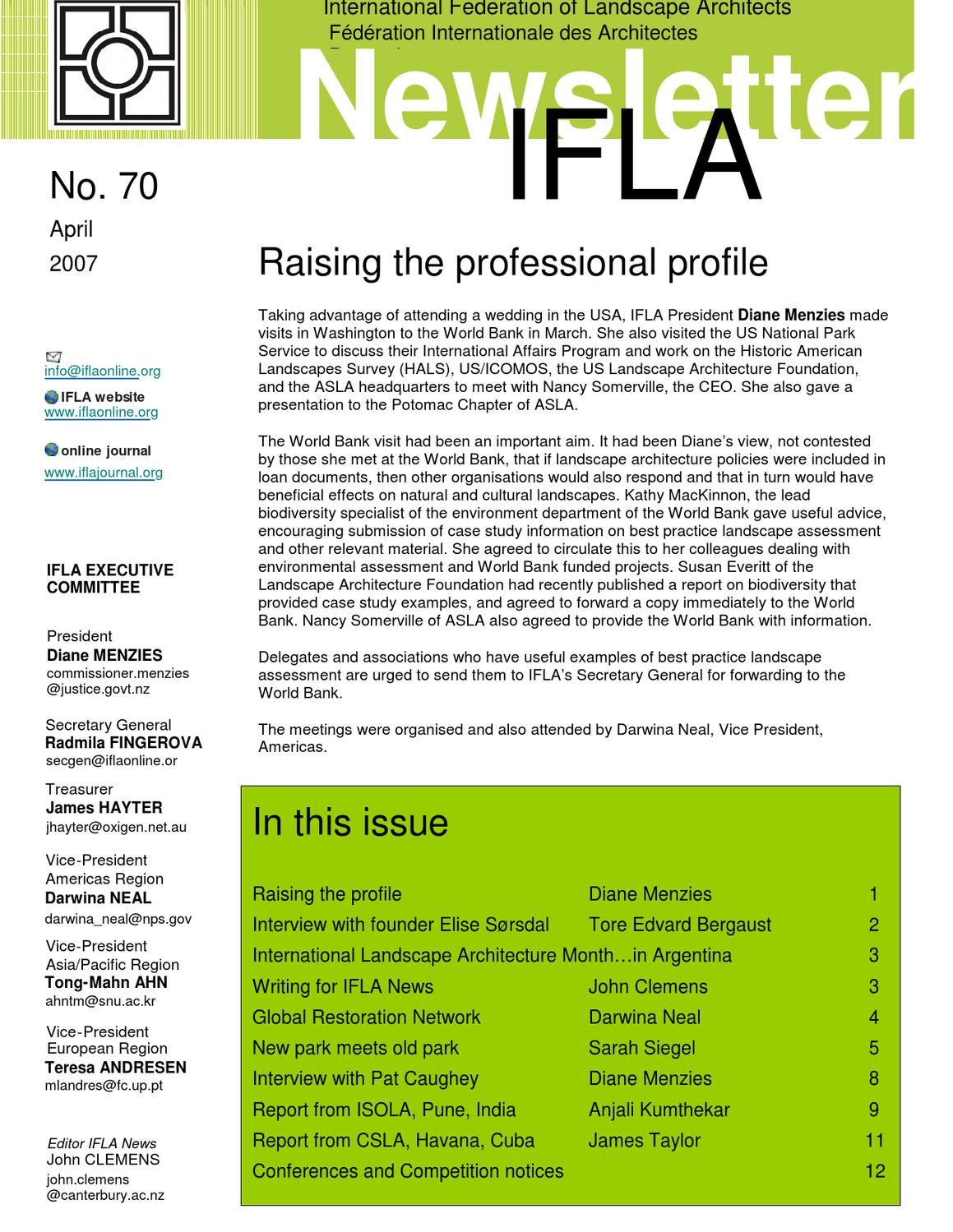 Raising the professional profile by international for International federation of landscape architects