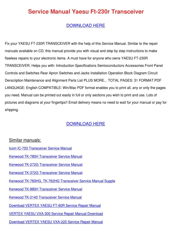 Service Manual Yaesu Ft 230r Transceiver by Charline Buettner - issuu