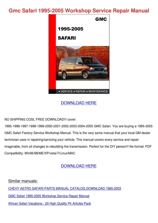 1995 gmc safari service manual pdf