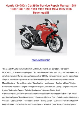 honda cbr250r cbr250rr service repair manual by kasi hairfield issuu rh issuu com 2017 Honda CBR250R 2017 Honda CBR250R
