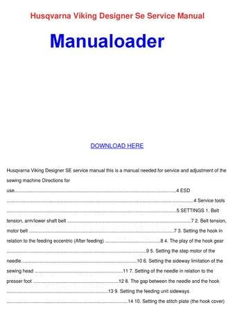 Husqvarna viking designer se manual.