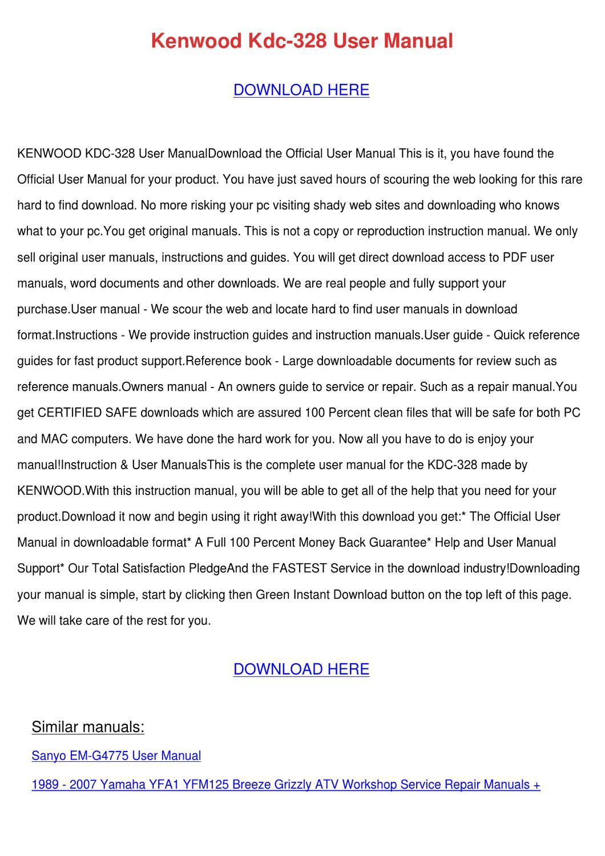 Kenwood Kdc 328 User Manual By Randee Toelkes
