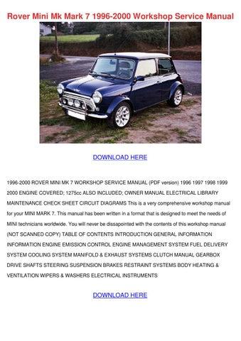 Rover Mini Mk Mark 7 1996 2000 Workshop Servi by Brandie Trusty ...