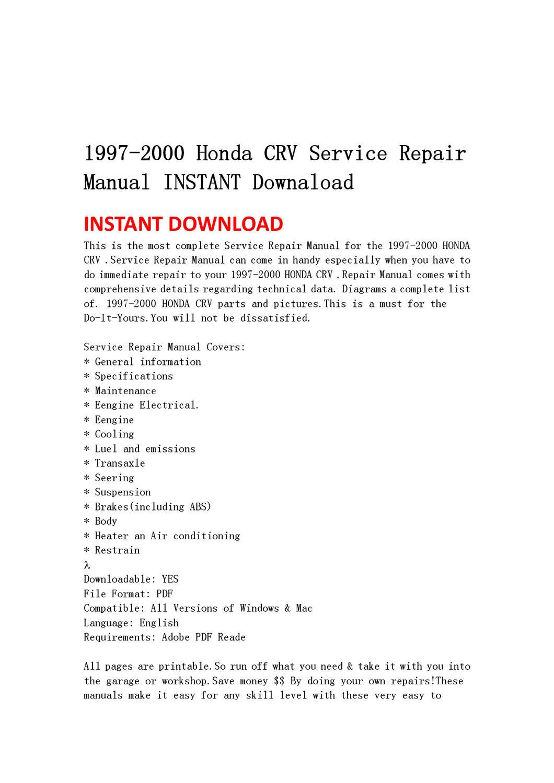 1997-2000 Honda CRV Service Repair Manual INSTANT Downaload by qin wanga -  issuu
