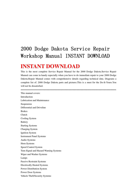 2000 Dodge Dakota Service Repair Workshop Manual INSTANT DOWNLOAD by qin  wanga - issuu