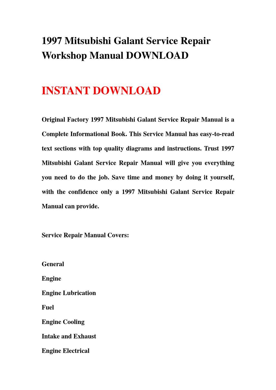 1997 Mitsubishi Galant Service Repair Workshop Manual DOWNLOAD by qin wang  - issuu