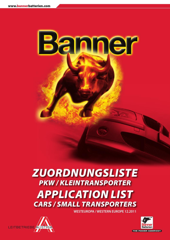 ZuordnungslistePKWWEU by Banner Batterien - issuu
