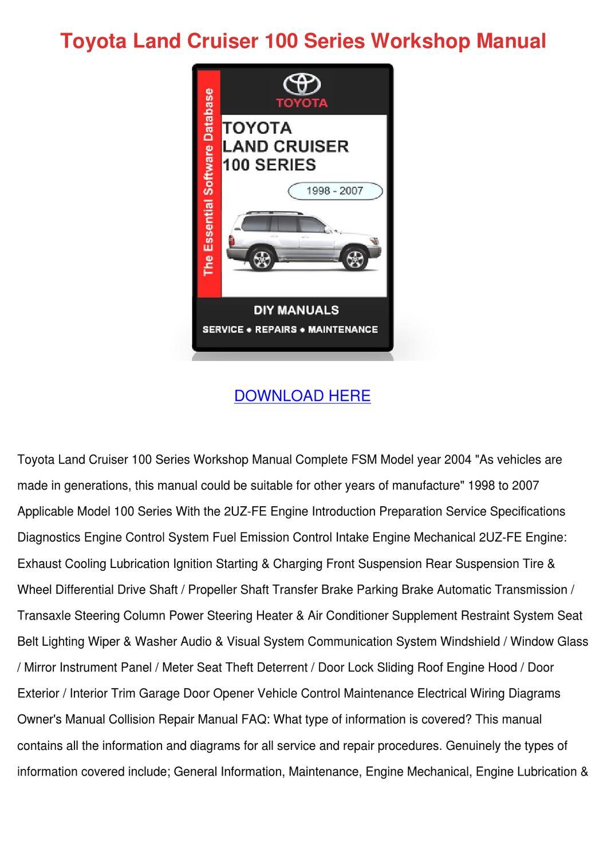 toyota land cruiser 100 series workshop manua