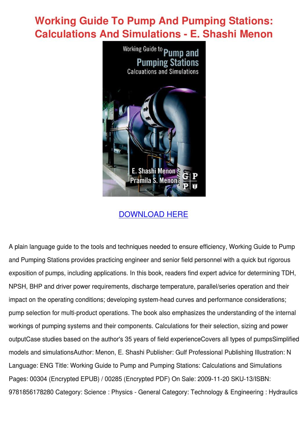 Working Guide To Pump And Pumping Stations Ca by Phoebe Constantine - issuu