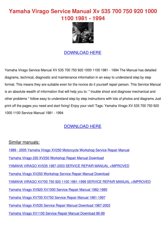 Yamaha Virago Service Manual Xv 535 700 750 9 by Phoebe Constantine - issuu