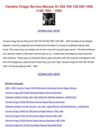 Yamaha Virago Service Manual Xv 535 700 750 9 By Phoebe Constantine Issuu