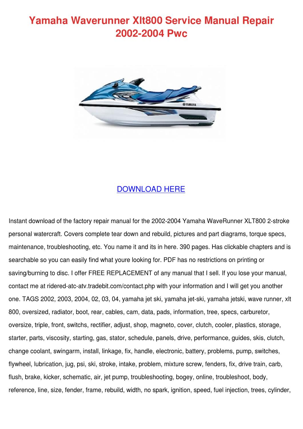 Yamaha Waverunner Xlt800 Service Manual Repai By Phoebe Constantine Issuu