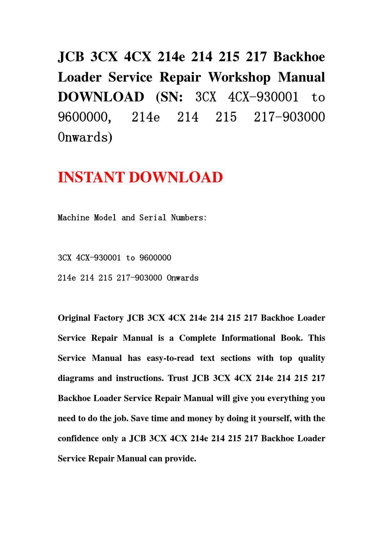 jcb 4cx service manual free download