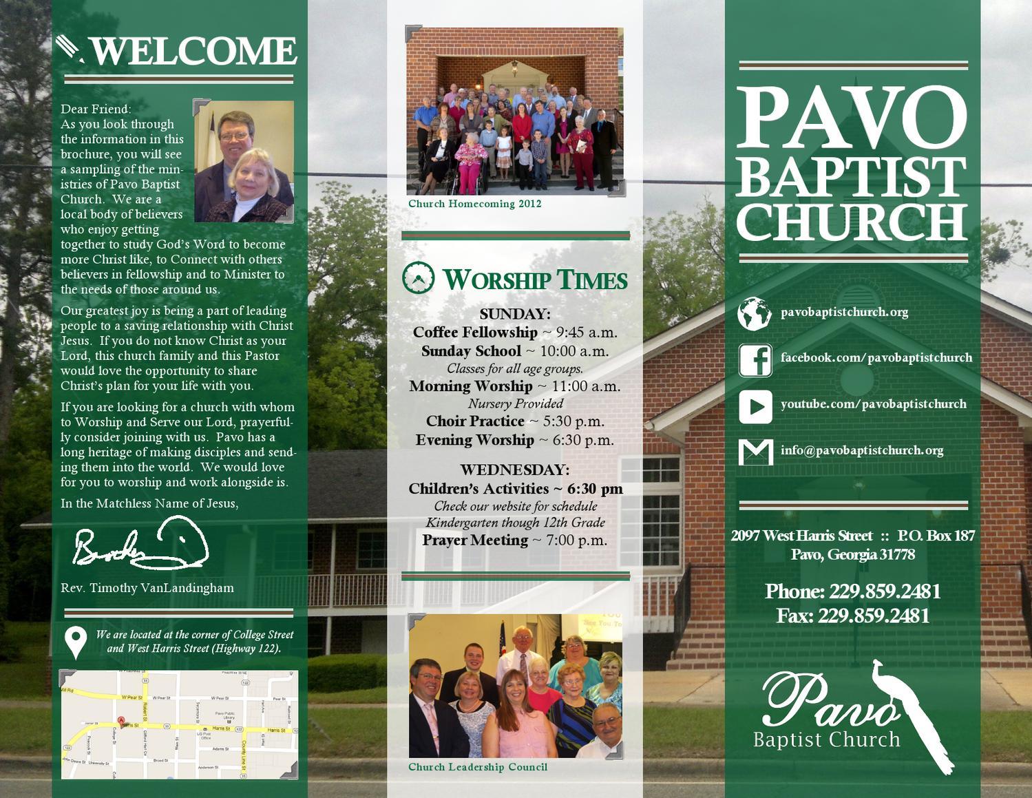 pavo baptist church brochure 2013 by pavo baptist church issuu