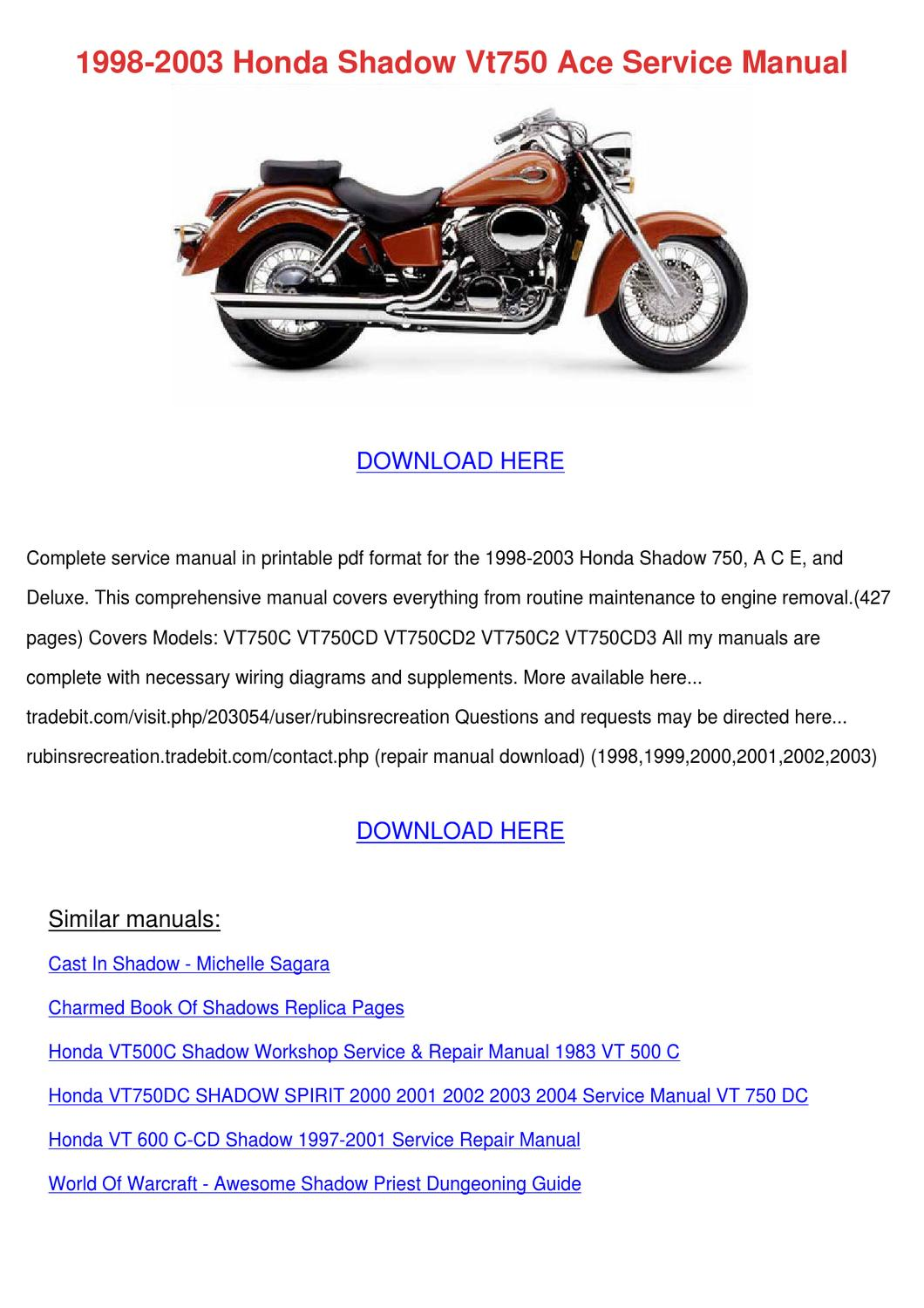 Other Motorcycle Parts Haynes Service Manual Honda Shadow Vt750c American Classic Edition 1998 2003 Auto Parts And Vehicles