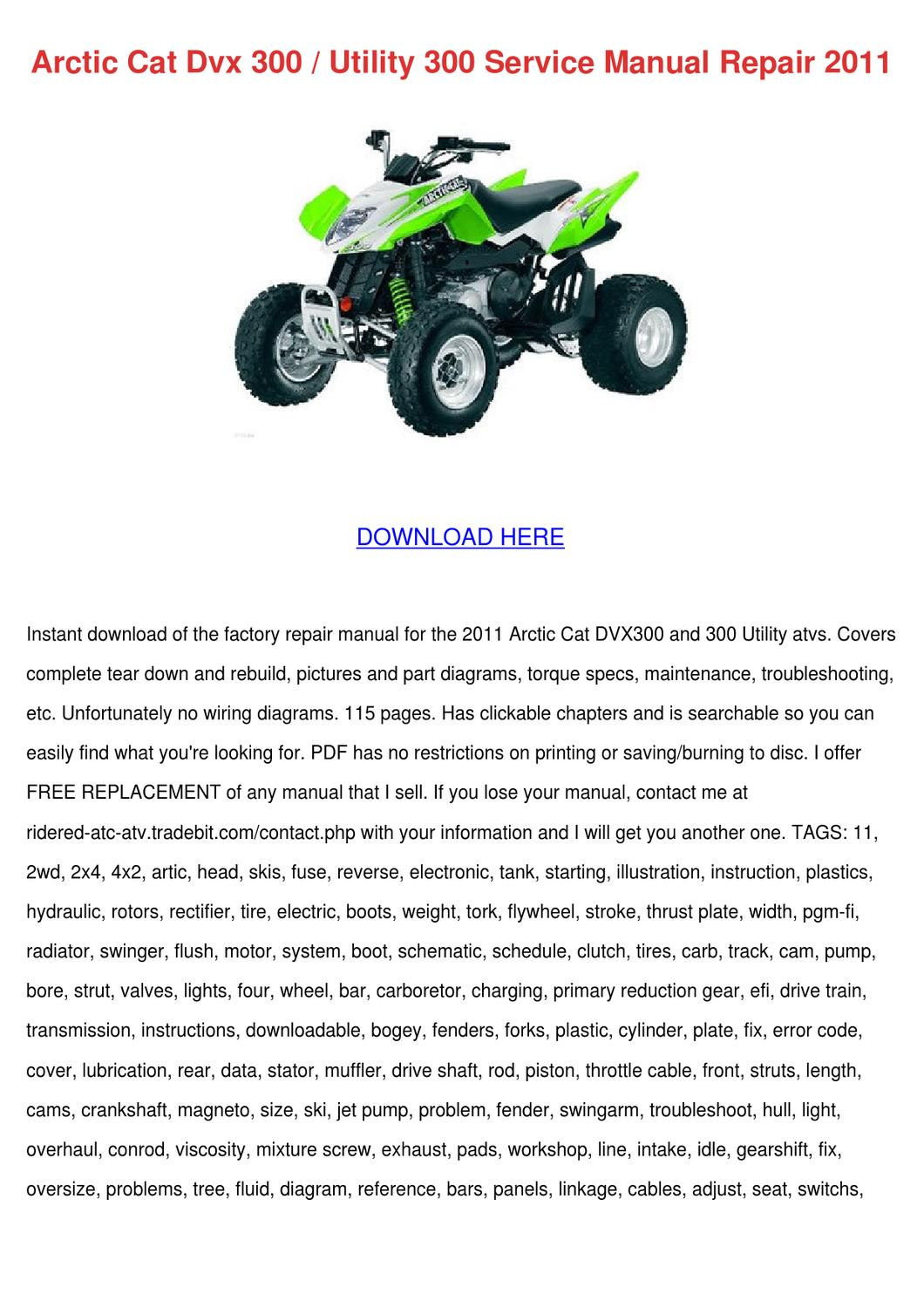 Arctic Cat Dvx 300 Utility 300 Service Manual By Tennie