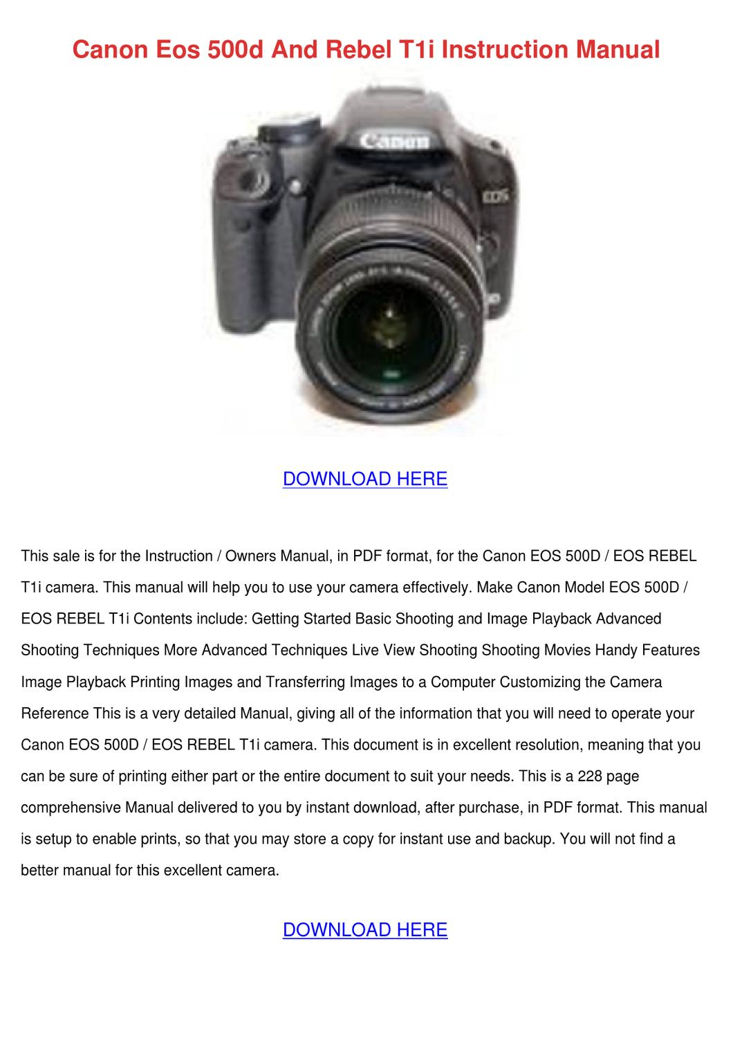 Canon Eos 500d And Rebel T1i Instruction Manu by Tennie Simone - issuu