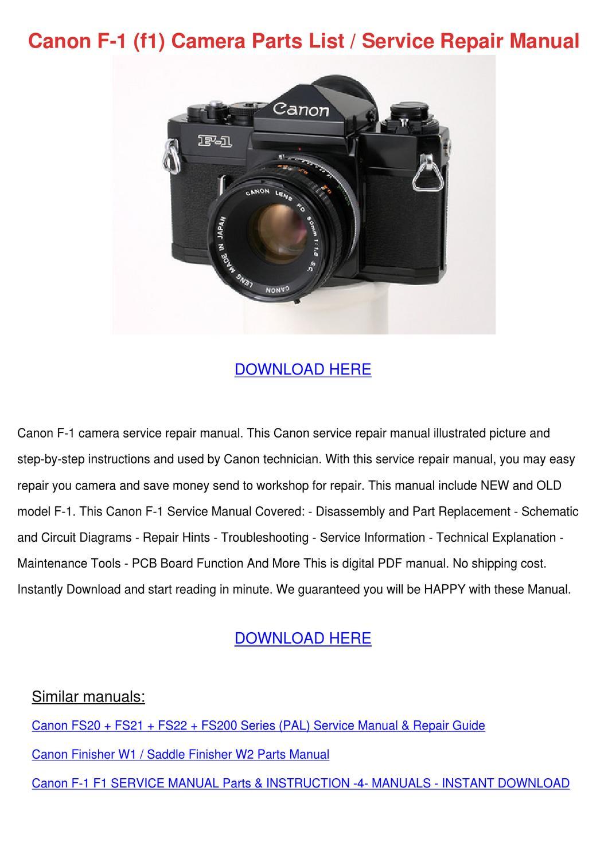 Canon F 1 F1 Camera Parts List Service Repair by Tennie Simone - issuu