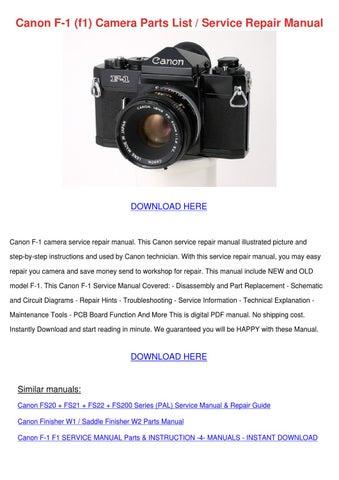 canon f 1 f1 camera parts list service repair by tennie simone issuu rh issuu com canon fs200 manual pdf canon legria fs200 instruction manual