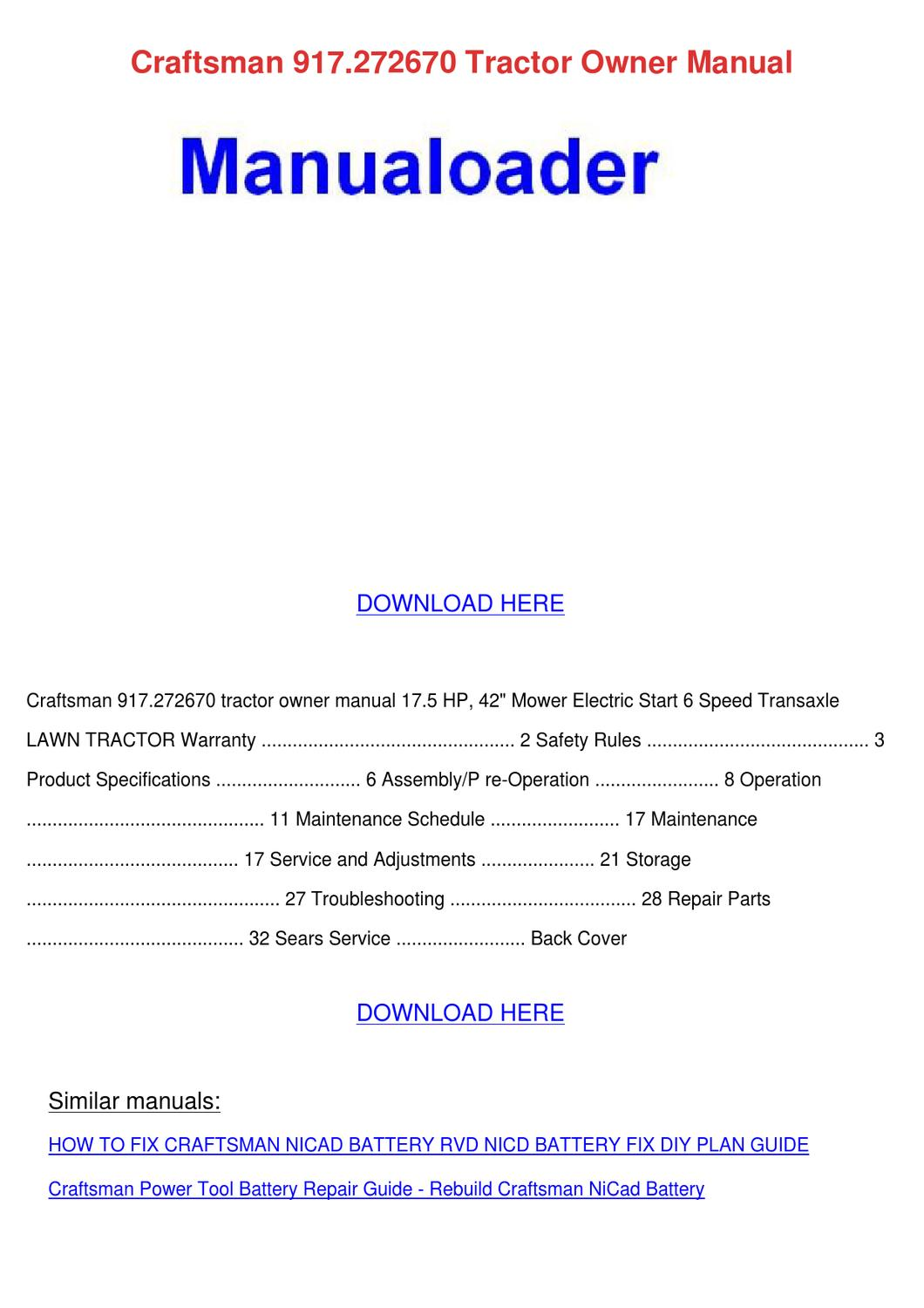 Craftsman 917272670 Tractor Owner Manual by Tennie Simone - issuu