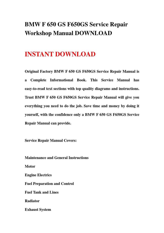bmw f 650 gs f650gs service repair workshop manual. Black Bedroom Furniture Sets. Home Design Ideas