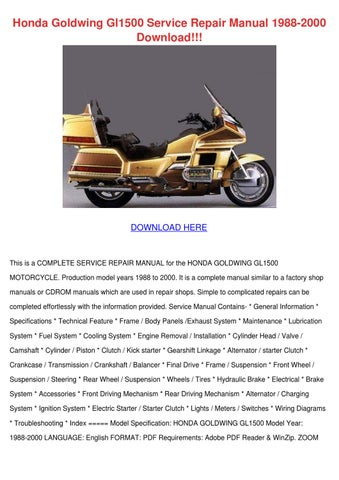 Honda Goldwing Gl1500 Service Repair Manual 1 By Kera Jodway Issuu