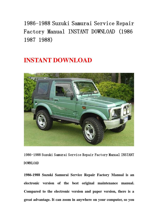 1986-1988 Suzuki Samurai Service Repair Factory Manual ...