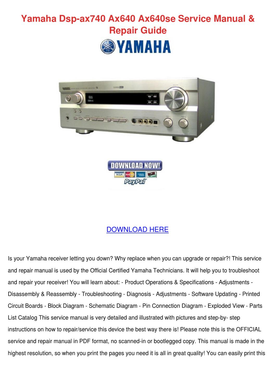 Yamaha Dsp Ax740 Ax640 Ax640se Service Manual By Dee Harmann Issuu Electronic Circuit Board Repair Pdf