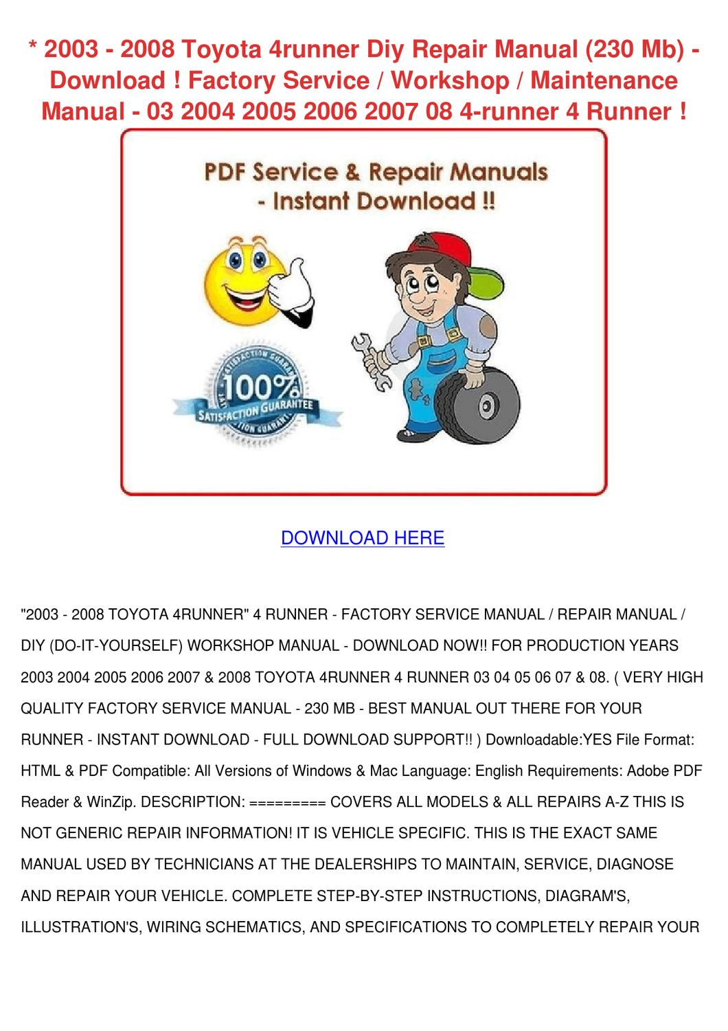 2003 2008 Toyota 4runner Diy Repair Manual 23 By Carlota Granato Issuu Plug Wire Diagram 98