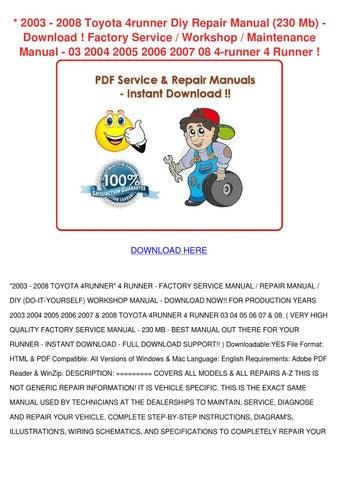 2003 2008 Toyota 4runner Diy Repair Manual 23 by Carlota
