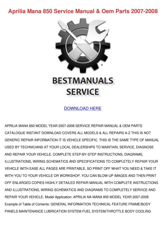 Aprilia Mana 850 Service Manual Oem Parts 200 By Carlota Www Wiring Schematics