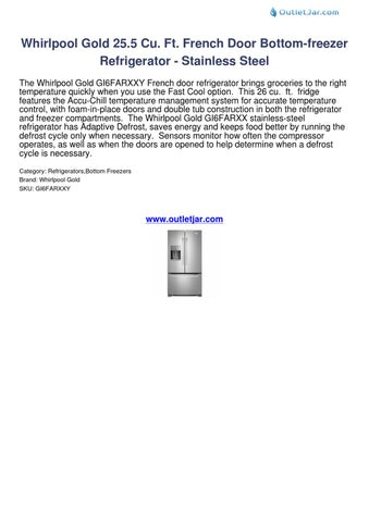 Whirlpool Gold 255 Cu Ft French Door Bottom Freezer