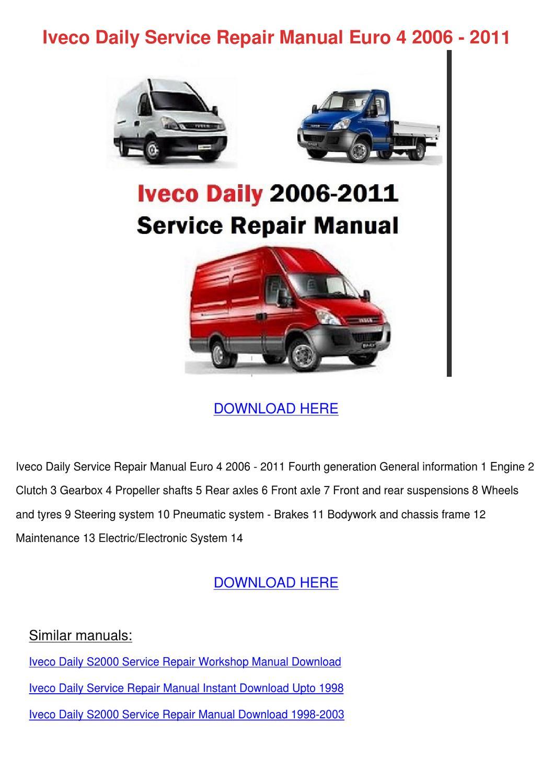 Iveco Daily Service Repair Manual Euro 4 2006 by Genia Guziak - issuu