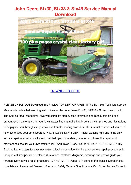 john deere stx30 stx38 stx46 service manual d by genia guziak issuu