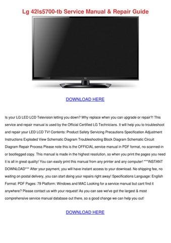 Lg 42ls5700 Tb Service Manual Repair Guide by Genia Guziak - issuu