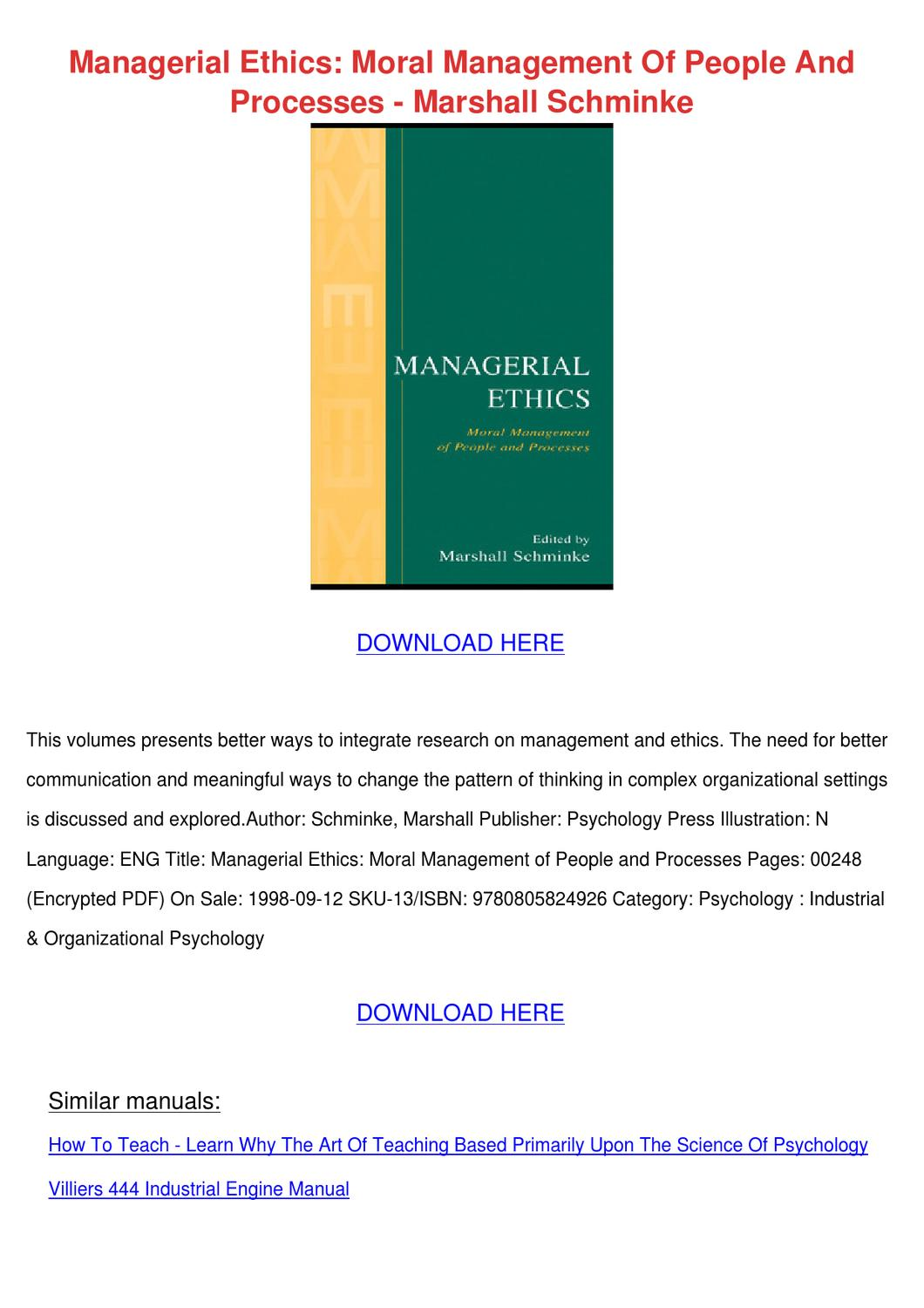 Managerial Ethics Moral Management Of People By Genia border=