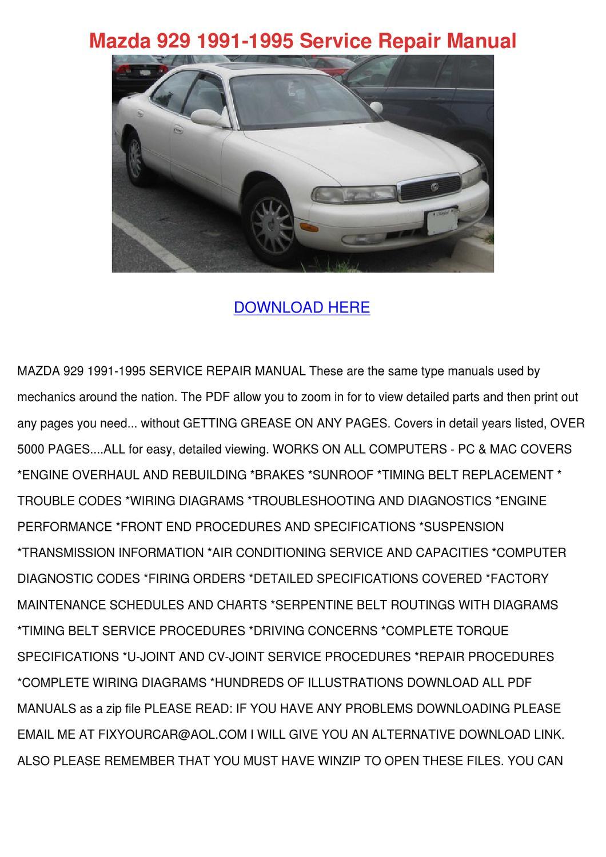 Mazda 929 1991 1995 Service Repair Manual by Genia Guziak - issuu