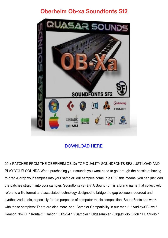 Oberheim Ob Xa Soundfonts Sf2 by Genia Guziak - issuu
