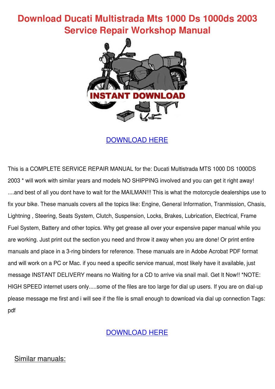 Ducati Multistrada 1000 Ds 2003 Manual Pdf
