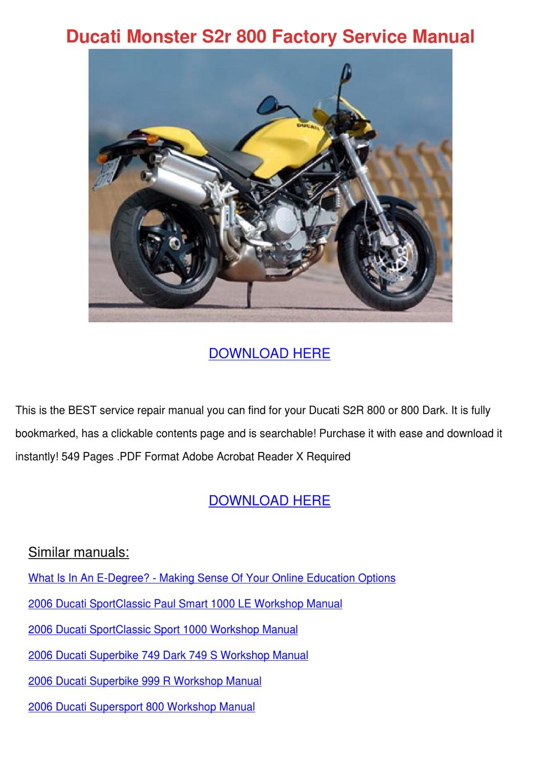 Ducati Monster S2r 800 Factory Service Manual By Reda