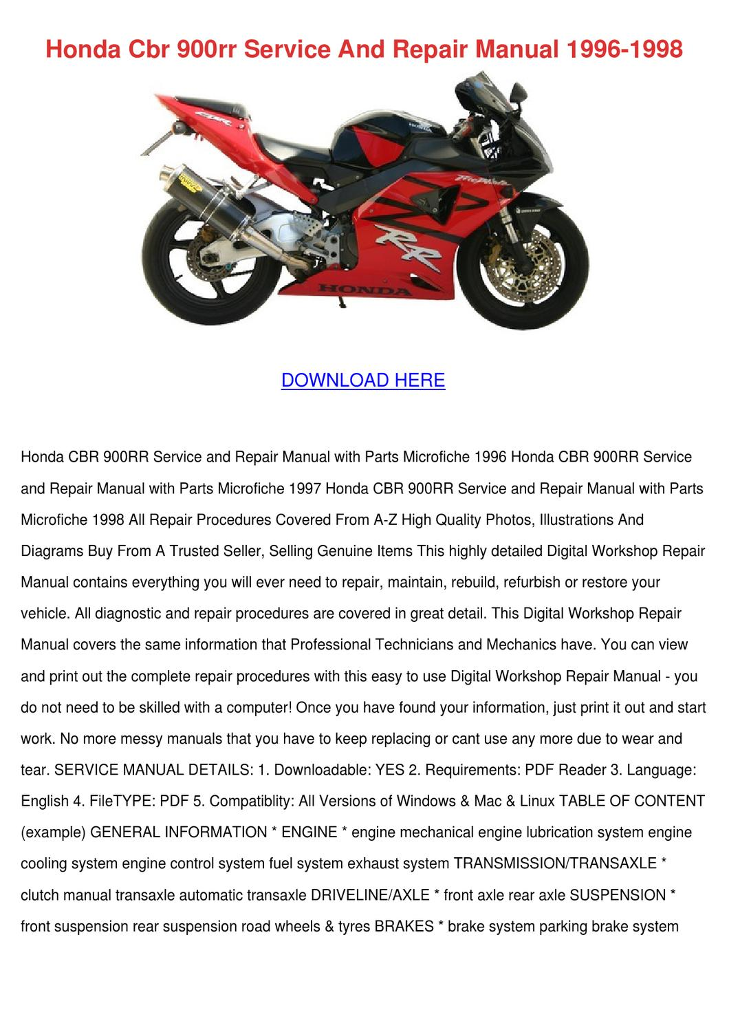 ... Array - honda cbr 900rr service and repair manual 199 by reda mccrady  issuu rh issuu ...