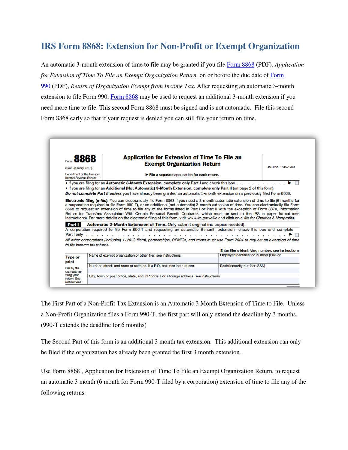 IRS Extension Form 8868 of Time To File an Non Profit or Exempt ...
