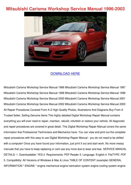 Mitsubishi Carisma Workshop Service Manual 19 by Ariel Chacon - Issuu