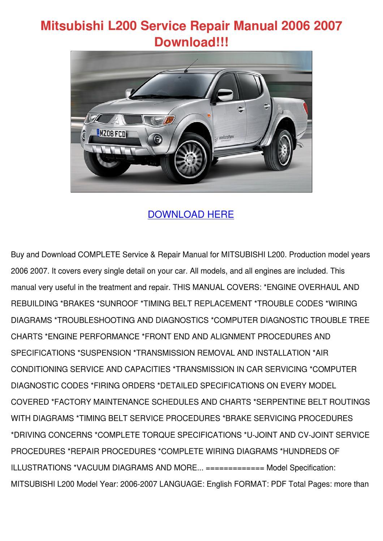 2006 Mitsubishi Outlander Serpentine Belt Diagram Car Wiring Triton 2007 L200 Service Repair Manual 20 By Ariel Chacon Issuu