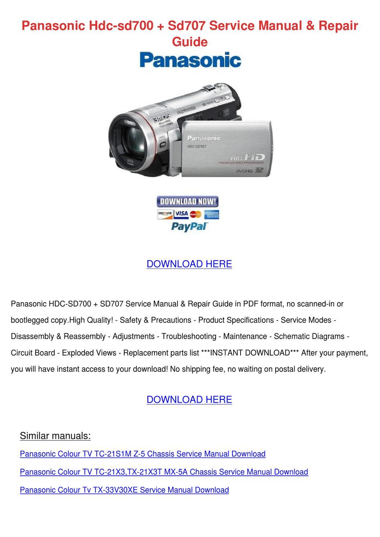 Panasonic Hdc Sd700 Sd707 Service Manual Repa by Ariel Chacon - issuu