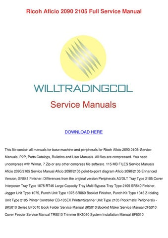 toshiba e studio 900 1050 ricoh aficio 2090 2105 service manual repair guide