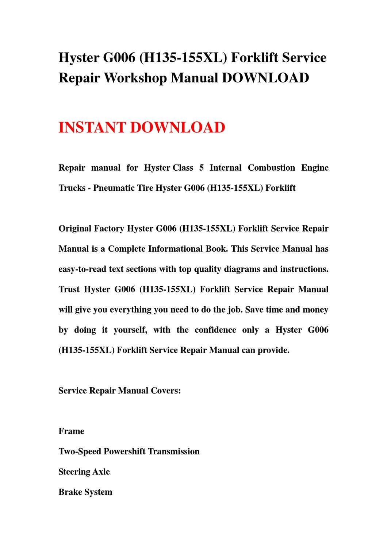 Manual hyster 155xl