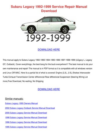 Other Car Manuals 2009 Subaru Legacy Outback Owners Manual Vehicle ...