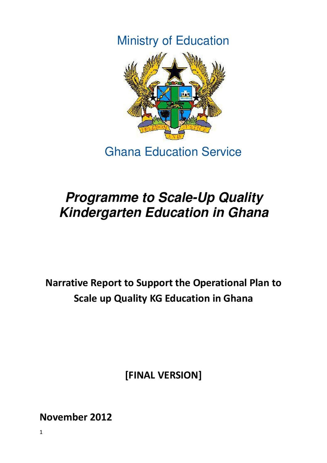 MoE Programme to Scale-Up Quality Kindergarten Education in Ghana by Sabre  Charitable Trust - issuu