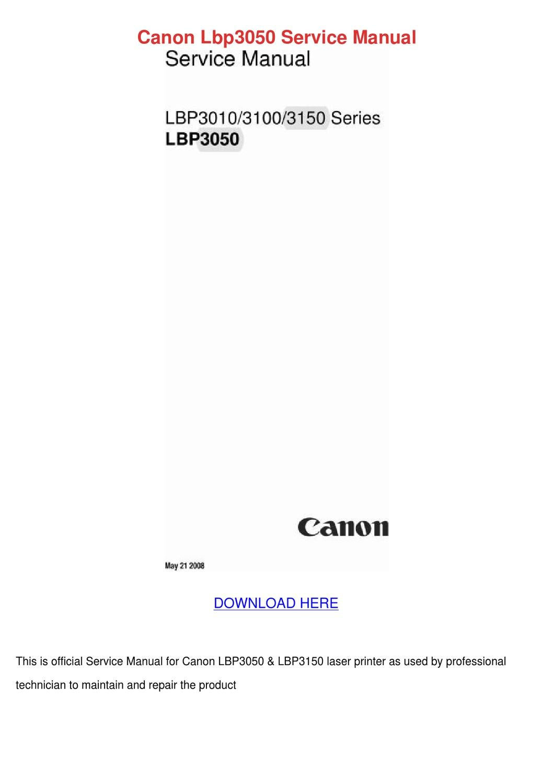 Canon Lbp3050 Service Manual